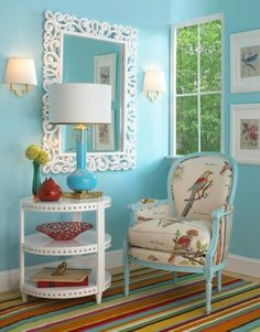 Just a little pop of color can refresh your space and give you a whole new perspective. As turquoise mixes with pops of warm colors like red, yellow, and orange, the two contrasting tones wake up a room and mimic a beautiful field of summer poppies. Refurbished Chairs, Mirror Painting, Decorating Small Spaces, Decorating Ideas, Decor Ideas, Oui Oui, Spare Room, Warm Colors, Happy Colors