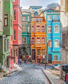 Balat in Istanbul is the kind of place you always want to return to. Summary: Vivid colors, rich diversity of cultural backgrounds, fantastic architecture and, of course, full with friendly locals! Veranda Magazine, Istanbul Travel, Visit Istanbul, Turkey Photos, Destinations, Colourful Buildings, Colorful Houses, Destination Voyage, Turkey Travel