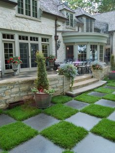 French Country Design, Pictures, Remodel, Decor and Ideas - page 9  This is a cool way to do a small area with grass and tile!