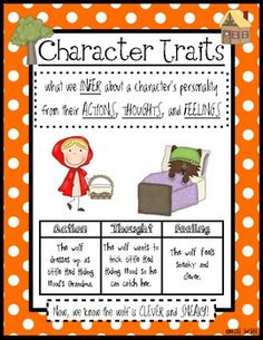 Teaching Character Traits can be a little tricky when your students want to tell you all about what they look like! :)  So, this is a nice anchor chart to help bring your student's attention to the way we infer what a character's personality is like from their actions, thoughts, and feelings.  Along with this skill, you'll find 12 other skills posters to go along with this set!!  They've been a life saver this year so I hope they are a good addition for you and your students as well! :)