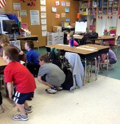 movement to go with subtraction/regrouping poem:  more on top no need to stop; more on the floor go next door and get 10 more