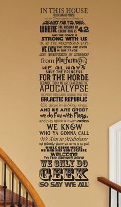 In this House We Do Geek CUSTOMIZABLE Vinyl wall Decal by JobstCo
