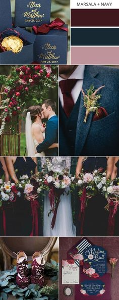 marsala and navy blue fall wedding color ideas #weddingcolors #fallwedding #weddingideas #weddingdecor
