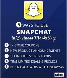 """SOCIAL MEDIA - """"5 ways to use #snapchat in #business #marketing""""."""