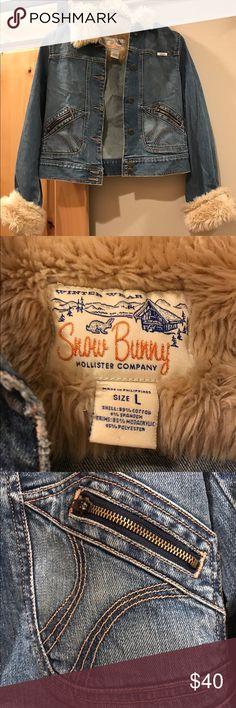 Hollister Snow Bunny Jean Jacket. Hollister Snow Bunny Jean Jacket. Never worn! Hollister Jackets & Coats Jean Jackets