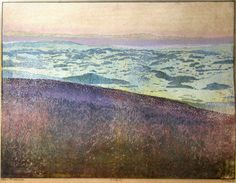 The Alps as viewed from Třístoličník (Dreisesselberg) hill - colored woodcut - by Josef Vachal Scratchboard, Arts And Crafts Movement, Wood Engraving, People Photography, Woodblock Print, Alps, Wood Print, Surface Design, Printmaking