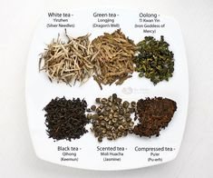 Types of Chinese Tea - white, green, oolong, black, scented, and compressed coming from the same tea plant but each processed differently. | TeaTattler.com