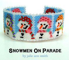 SNOWMEN ON PARADE Bracelet Pattern | Bead-Patterns