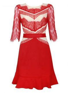 Red Day Dress - Bqueen  Red Lace Flouncing Slim