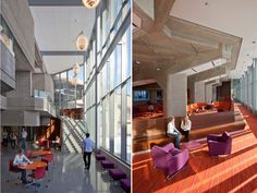 New atrium at east side with browsing area below link