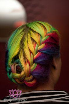 Rainbow Braids Pride And Equality Rainbow Braids, Rainbow Hair, Rainbow Stuff, Rainbow Colors, Hair Dye Colors, Cool Hair Color, Best Braid Styles, Hair Styles, Locks