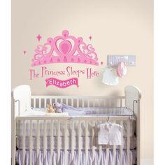 New The Princess Sleeps Here Wall Decals Baby Girls Stickers Pink Nursery Decor | eBay