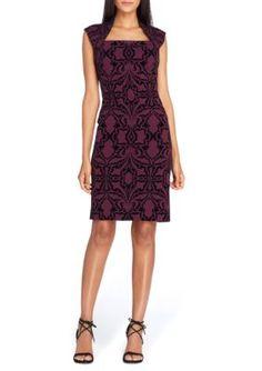 Tahari Asl Women's Sleeveless Flocked Scuba Sheath Dress - Bordeaux/Burgundy - 12
