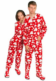 Red footed pajamas for adults with drop seat