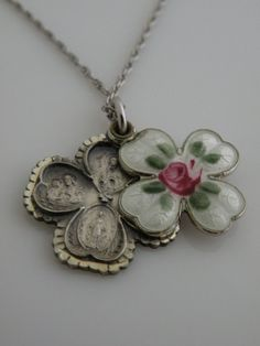 Antique French Guilloche Enamel Cross with Pink Rose Religious Medal Necklace sterling