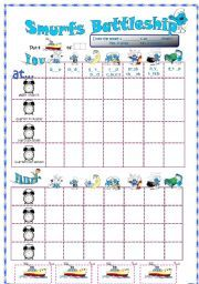 English worksheet: Smurfs Battleship with daily routines and time