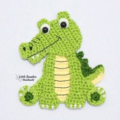 Ravelry: Alligator Applique pattern by Little Bamboo Handmade Crochet Applique Patterns Free, Crochet Motifs, Crochet Appliques, Elephant Applique, Cat Applique, Crochet Animals, Crochet Toys, Manta Animal, Motifs D'appliques