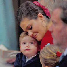 """crownprincesses:  """"Prince Oscar and mamma Crown Princess Victoria sharing a precious and sweet moment during Prince Gabriel's Christening. 