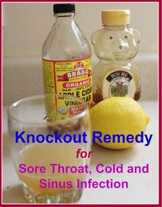 Sinusitis Remedies This knockout home remedy for sore throat, pack with extraordinary ingredients such as fresh lemon juice, organic honey and organic, raw and unfiltered apple cider vinegar, will also knock out any cold or upper respiratory infection. Natural Home Remedies, Herbal Remedies, Health Remedies, Achy Body Remedies, Allergy Remedies, Home Health, Health And Wellness, Health Fitness, Health Care