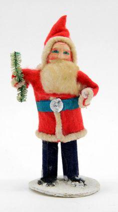 "Vintage Mache Santa Claus Figurine - Mica Base - Japan - Cotton Beard - 4"", Felt by QueeniesCollectibles on Etsy"