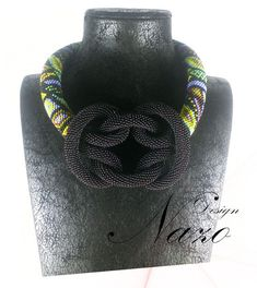 Beaded Necklace - Beaded Crochet Neckalce - Knotted Crochet Necklace. $153.00, via Etsy.