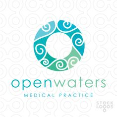 LOGO SOLD contemporary modern logo, with flowing natural water waves contained within a letter o/circle shape