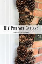 DIY:  How to Make Holiday Pinecone Garland - easy tutorial shows how to make this natural garland that is the perfect base for your interior and exterior decorating, from fall through the winter - via On Sutton Place