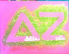 Delta Zeta glitter canvas #dz #deltazeta #sorority #canvas #glitter