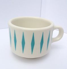 Vintage Homer Laughlin Best China Restaurant Mug, Turquoise Diamond Harlequin Design, Ceramic, Coffee Cup, Coffee Mug