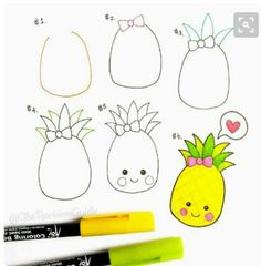 Drawing Doodles Ideas draw a pineapple step by step Doodle Art, Doodle Drawings, Easy Drawings, Summer Drawings, Doodle Ideas, Doodles Kawaii, Cute Doodles, Easy Drawing Steps, Step By Step Drawing
