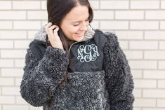 Monogram Sherpa Pullover black, personalized top, personalized sweater, monogrammed fleece shirt, personalized gift for her by CustomThreadsShop on Etsy