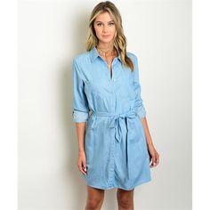 Women's Dress Shirt Blue Denim Tunic Button Down Dress