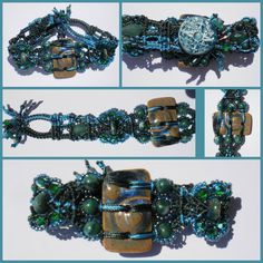 A Micro Macramé bracelet I made for my daughter's birthday using my Clayworksnh ceramic components.  A stoneware wave focal, textured porcelain shank button and stoneware beads.
