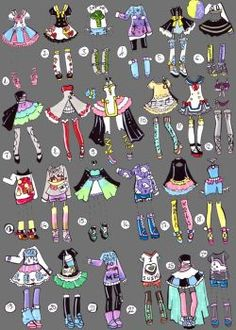 SOLD CoriCollab outfits by Guppie-Adopts.dev… on SOLD CoriCollab outfits by Guppie-Adopts. Fashion Design Drawings, Fashion Sketches, Cute Drawings, Drawing Sketches, Drawing Clothes, Anime Outfits, Copics, Deviantart, Drawing Reference