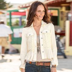 """ARTFUL ROMANCE JACKET�--�A romantic twist on the free-spirited jean jacket. Cropped with a crinkle cotton flounce, inset lace and raw-edge accents. Cotton/polyester/spandex. Machine wash. Imported. Sizes 2 to 12. Approx. 22""""L."""