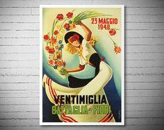 Ventimiglia Battaglia di Fiori Vintage Italian Travel by WallArty