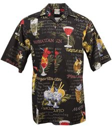 Go Barefoot - Happy Hour - Hawaiian Aloha Shirt in Black