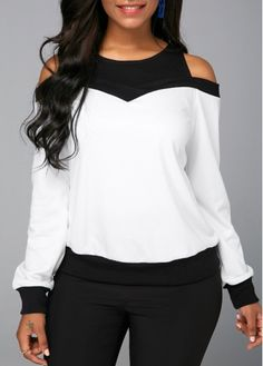 Long Sleeve Cold Shoulder Patchwork Sweatshirt Women Clothes For Cheap, Collections, Styles Perfectly Fit You, Never Miss It! Cold Shoulder Sweatshirt, Short Sleeve Blouse, Long Sleeve, Trendy Tops For Women, Printed Sweatshirts, Fashion Sweatshirts, Fashion Outfits, Womens Fashion, Fashion Clothes