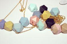 Customizable Geometric Colour Block Necklace by Kalinkati on Etsy