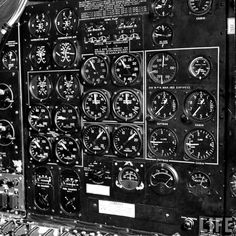 Close-up of the many dials which comprise panel of B-47 jet bomber |