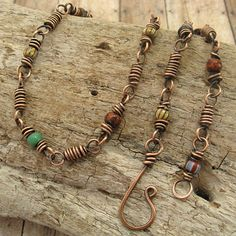 Coiled Copper Wire with Multi-color Trade Beads Necklace. I love the simplicity in this attractive design.