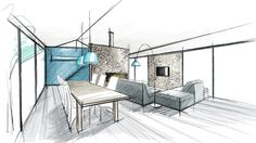 Croquis Plus Drawing Interior, Interior Rendering, Interior Sketch, Interior And Exterior, Croquis Architecture, Plans Architecture, Architecture Design, Architect Logo, Architect House