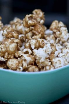 Clean Eating Caramelcorn. 1/4 cup peanut butter 1/2 cup honey 8-10 cups popped popcorn
