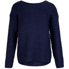 New Look Navy Chunky Stitch Bar Back Jumper (675 RUB) ❤ liked on Polyvore featuring tops, sweaters, shirts, jumper, navy, navy sweater, blue shirt, chunky knit sweater, thick knit sweater and navy shirt
