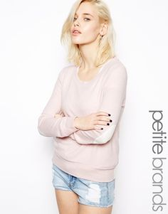 Image 1 ofGlamorous Petite Knit Jumper With Elbow Patch