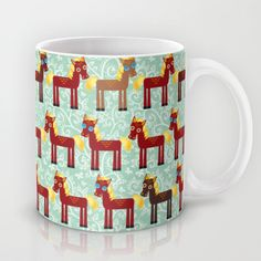 Brown horse on a blue floral background Mug by EkaterinaP - $15.00