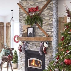 Update your fireplace with stone tiles to create a warm and welcoming space to gather with family and friends this Christmas. Shop and find more inspiration with the link in profile. #lowes #fireplace #airstone #interiordecor