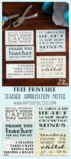 Teacher Appreciation Notes Free Printable Set of 5. Perfect for Teacher Appreciation Week, one note for each day!