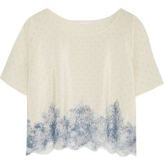 Rosamosario Bollicine Love Chantilly lace-trimmed printed silk crepe... ($365) ❤ liked on Polyvore featuring tops, t-shirts, pajamas, shirts, white and rosamosario