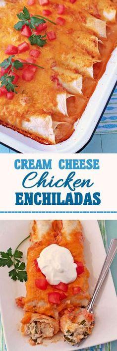 Cream Cheese Chicken Enchiladas #enchiladas #chickenrecipe